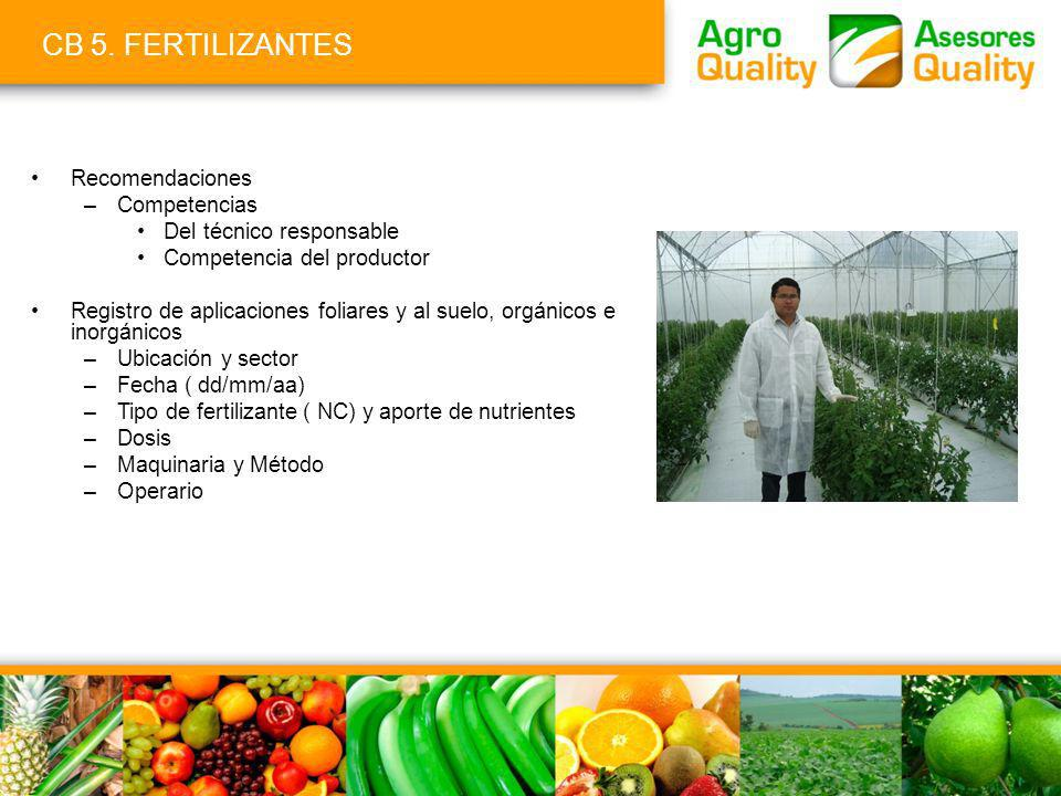 CB 5. FERTILIZANTES Recomendaciones Competencias