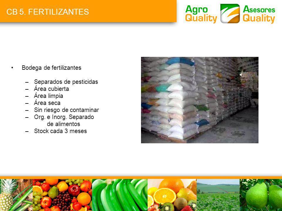 CB 5. FERTILIZANTES Bodega de fertilizantes Separados de pesticidas