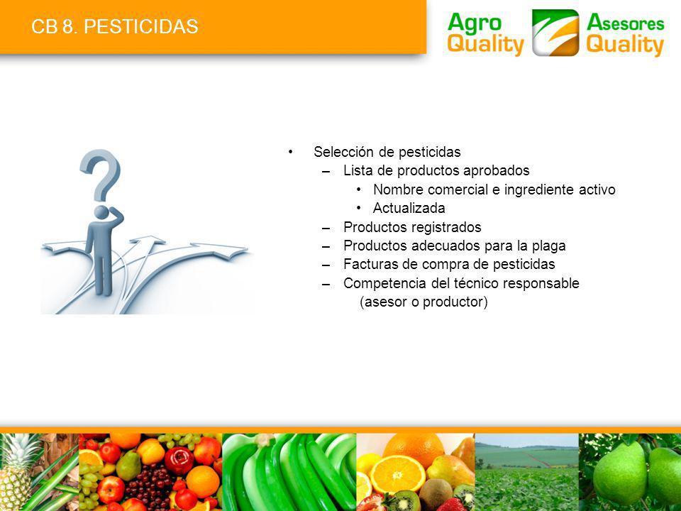 CB 8. PESTICIDAS Selección de pesticidas Lista de productos aprobados
