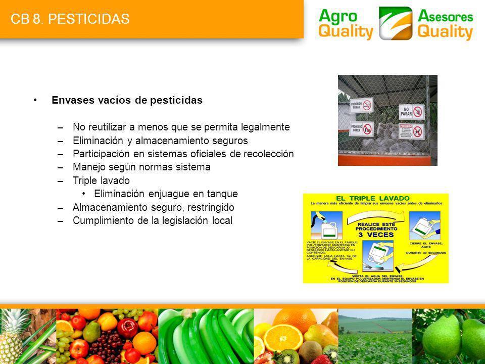 CB 8. PESTICIDAS Envases vacíos de pesticidas