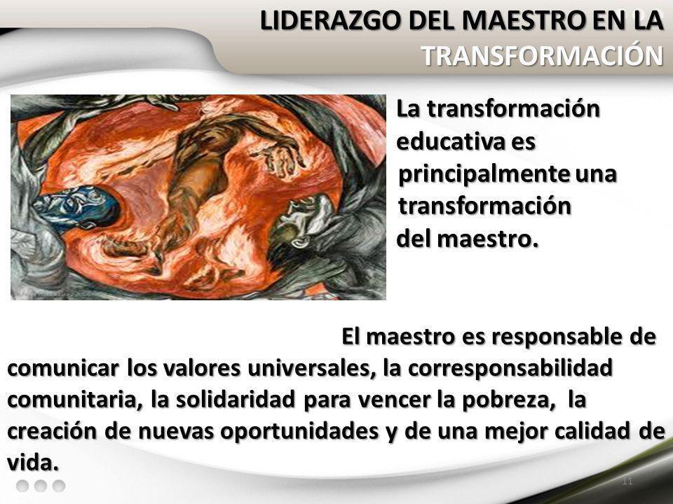 LIDERAZGO DEL MAESTRO EN LA TRANSFORMACIÓN