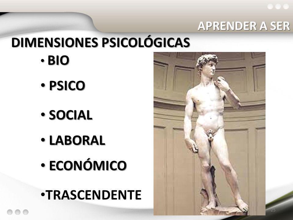 DIMENSIONES PSICOLÓGICAS PSICO SOCIAL LABORAL ECONÓMICO TRASCENDENTE