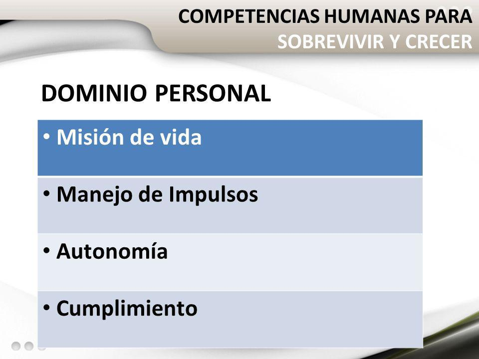 DOMINIO PERSONAL Misión de vida Manejo de Impulsos Autonomía