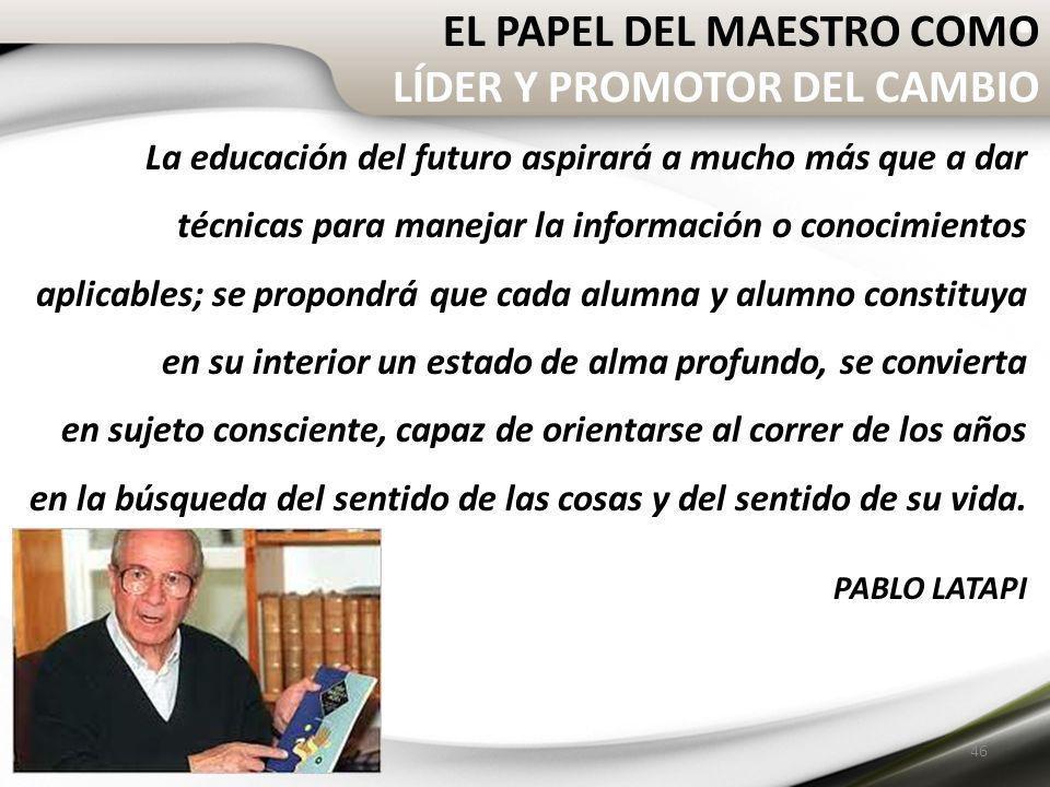 EL PAPEL DEL MAESTRO COMO LÍDER Y PROMOTOR DEL CAMBIO