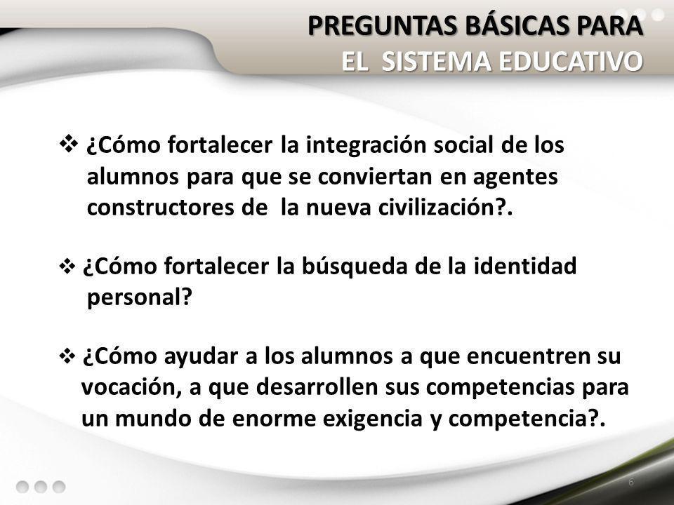 PREGUNTAS BÁSICAS PARA EL SISTEMA EDUCATIVO