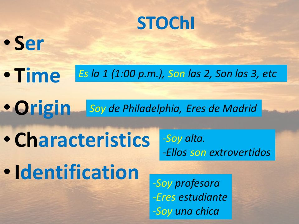 Ser Time Origin Characteristics Identification STOChI