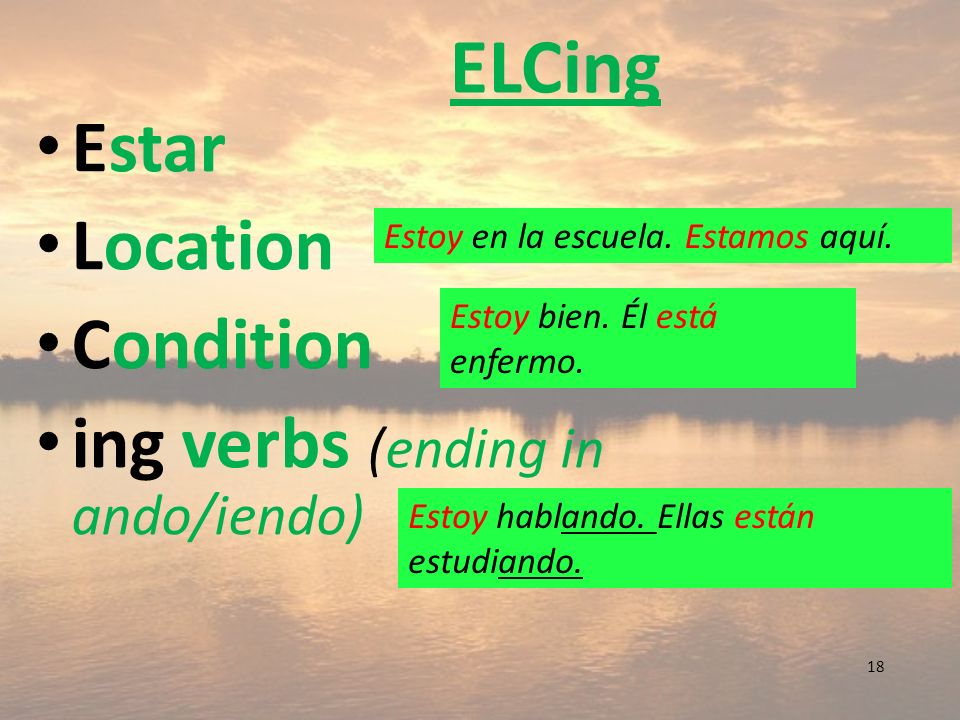 ELCing Estar Location Condition ing verbs (ending in ando/iendo)