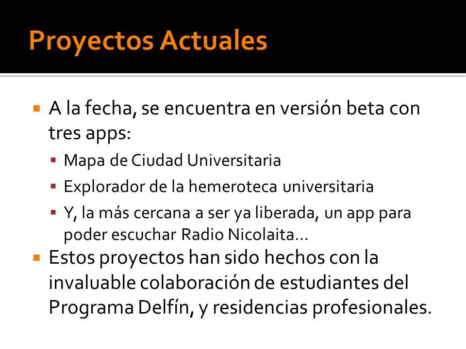 Proyectos Actuales A la fecha, se encuentra en versión beta con tres apps: Mapa de Ciudad Universitaria.
