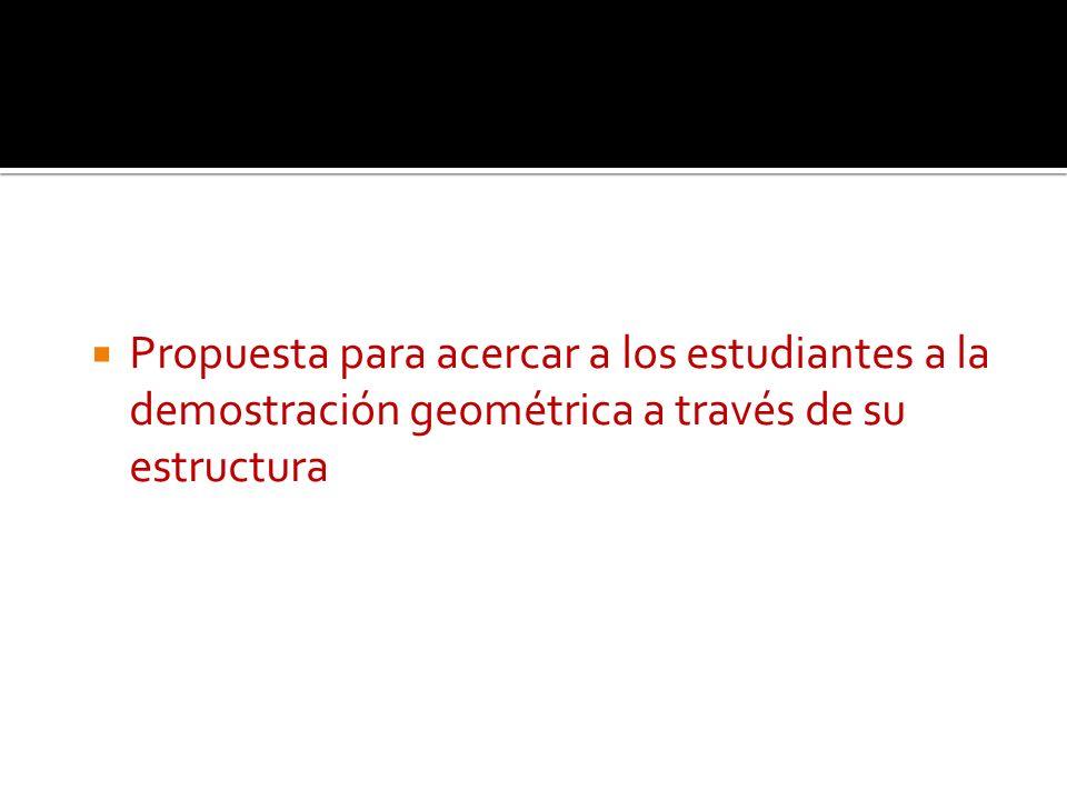 Propuesta para acercar a los estudiantes a la demostración geométrica a través de su estructura