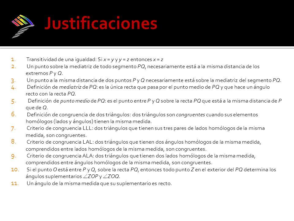 Justificaciones iii) Transitividad de una igualdad: Si x = y y y = z entonces x = z.