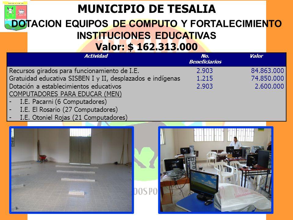 DOTACION EQUIPOS DE COMPUTO Y FORTALECIMIENTO INSTITUCIONES EDUCATIVAS