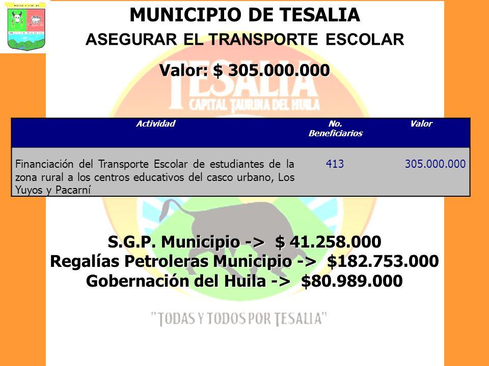 MUNICIPIO DE TESALIA ASEGURAR EL TRANSPORTE ESCOLAR