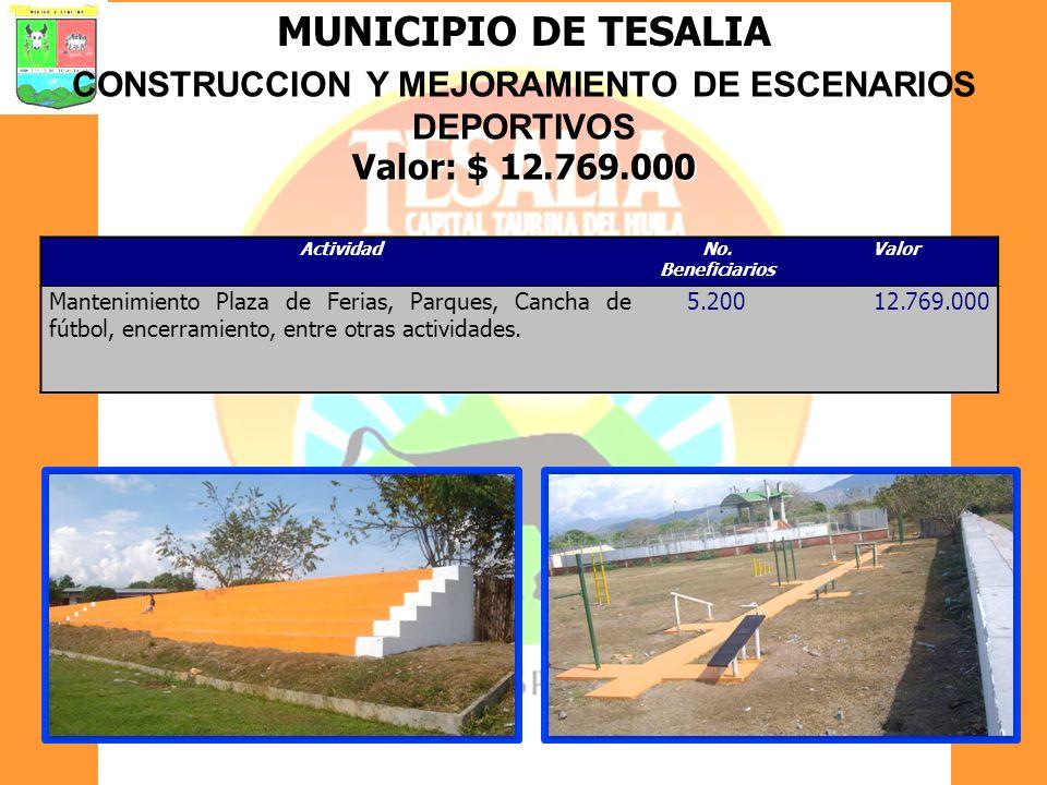 CONSTRUCCION Y MEJORAMIENTO DE ESCENARIOS DEPORTIVOS