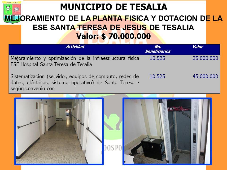MUNICIPIO DE TESALIA MEJORAMIENTO DE LA PLANTA FISICA Y DOTACION DE LA ESE SANTA TERESA DE JESUS DE TESALIA.