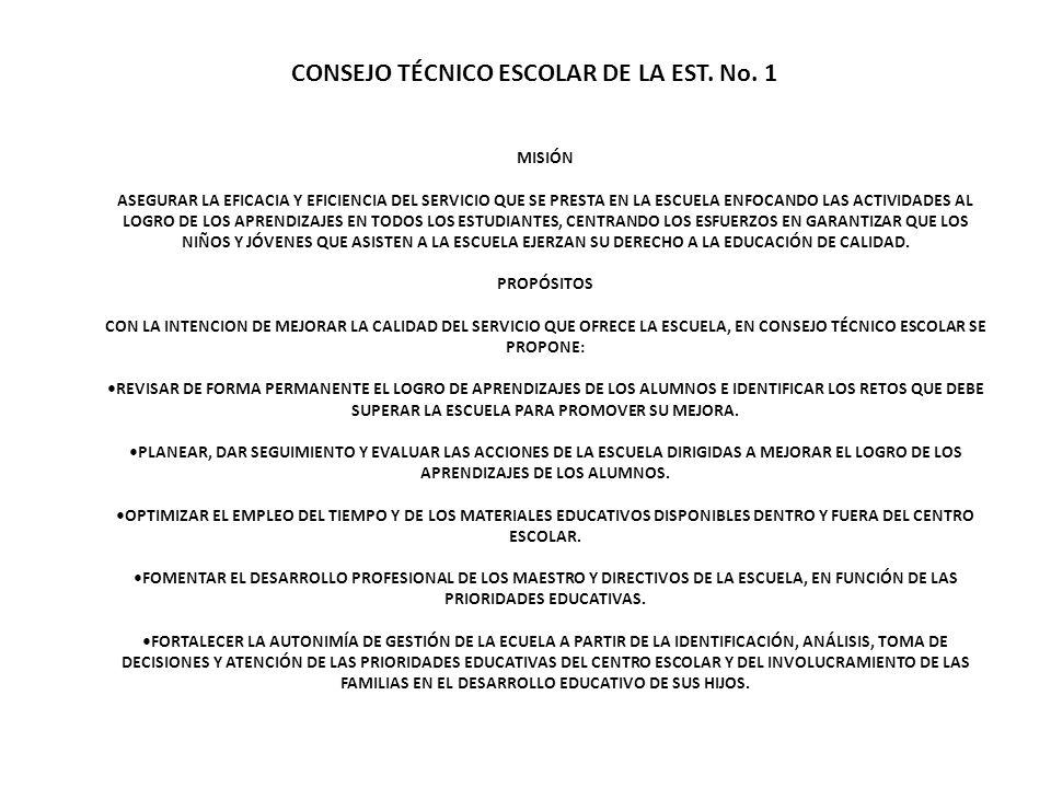 CONSEJO TÉCNICO ESCOLAR DE LA EST. No. 1