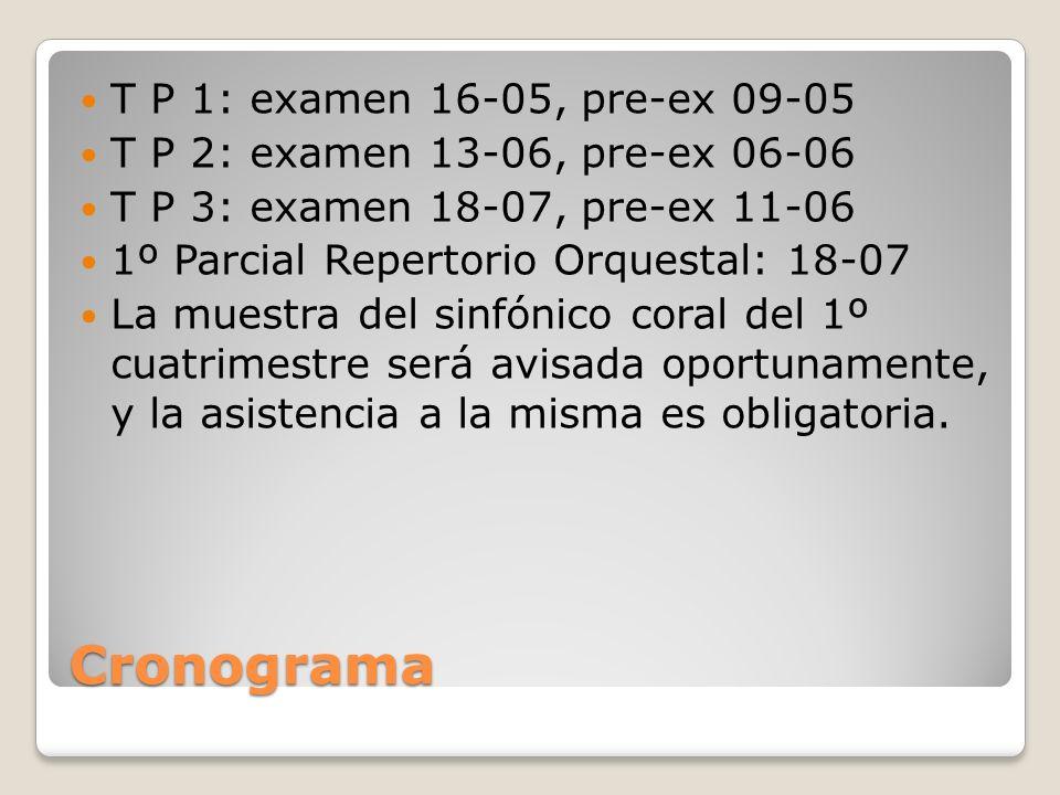 Cronograma T P 1: examen 16-05, pre-ex 09-05