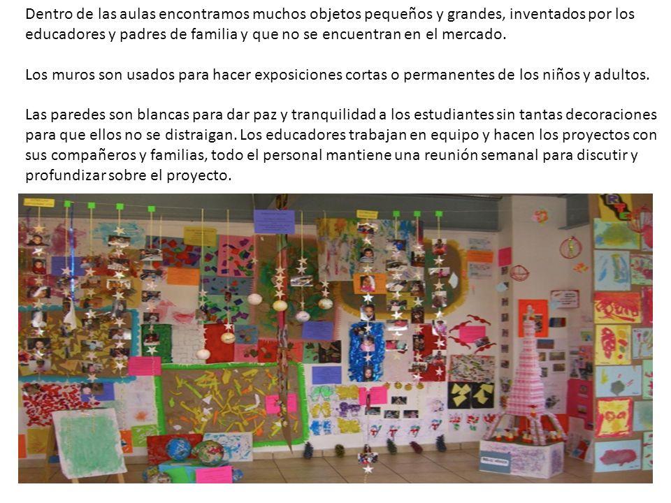 Dentro de las aulas encontramos muchos objetos pequeños y grandes, inventados por los educadores y padres de familia y que no se encuentran en el mercado.