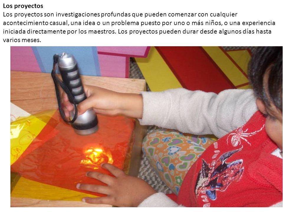 Los proyectos Los proyectos son investigaciones profundas que pueden comenzar con cualquier acontecimiento casual, una idea o un problema puesto por uno o más niños, o una experiencia iniciada directamente por los maestros.
