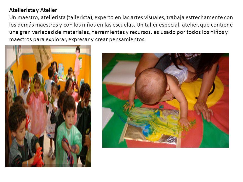Atelierista y Atelier Un maestro, atelierista (tallerista), experto en las artes visuales, trabaja estrechamente con los demás maestros y con los niños en las escuelas.