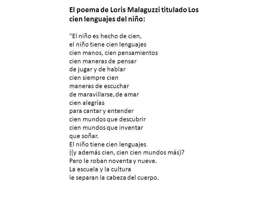El poema de Loris Malaguzzi titulado Los cien lenguajes del niño: