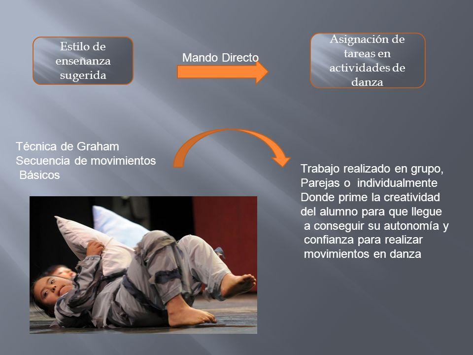Asignación de tareas en actividades de danza