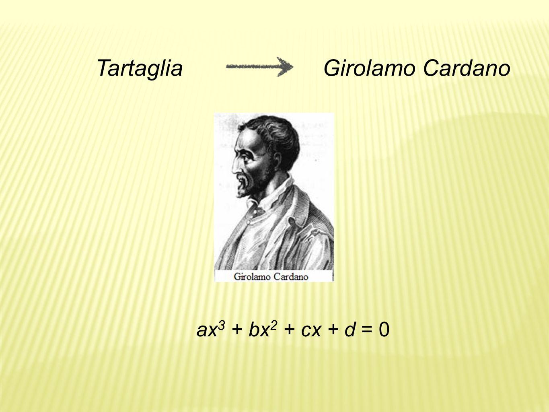 Tartaglia Girolamo Cardano ax3 + bx2 + cx + d = 0