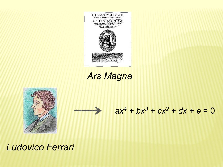 Ars Magna ax4 + bx3 + cx2 + dx + e = 0 Ludovico Ferrari