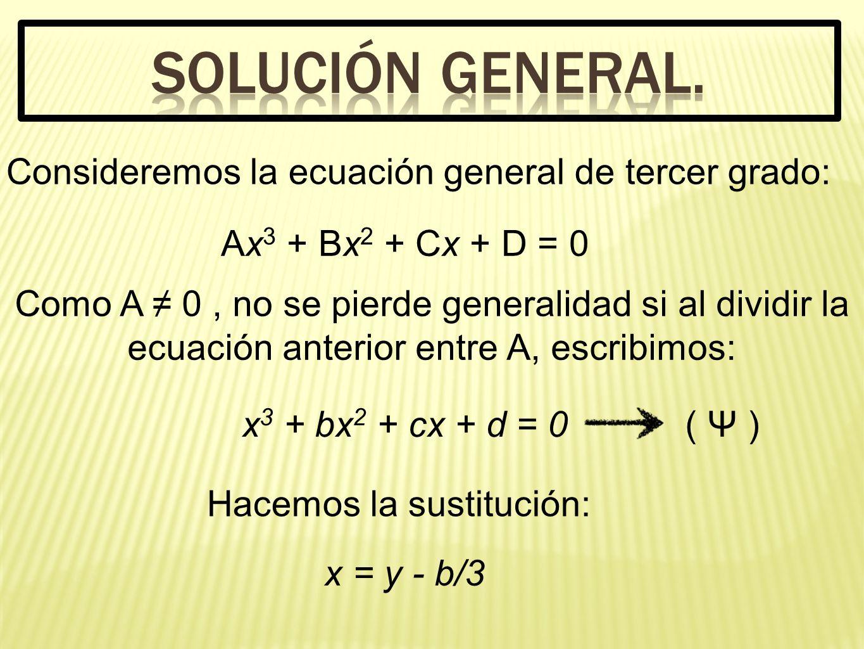 SOLUCIÓN GENERAL. Consideremos la ecuación general de tercer grado: