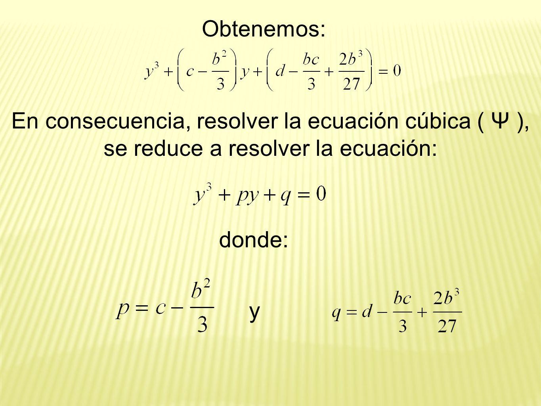Obtenemos: En consecuencia, resolver la ecuación cúbica ( Ψ ), se reduce a resolver la ecuación: donde: