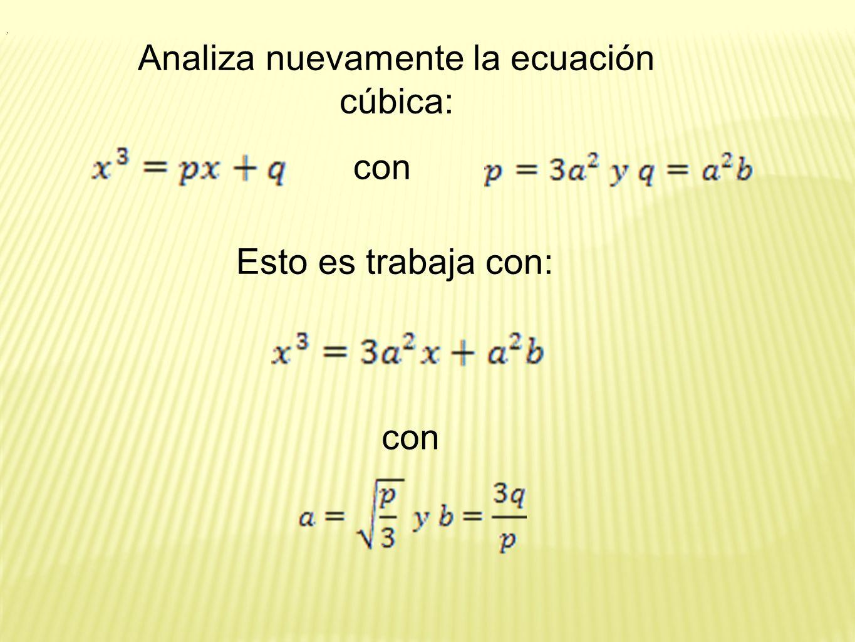 Analiza nuevamente la ecuación cúbica:
