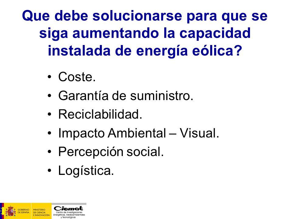 Que debe solucionarse para que se siga aumentando la capacidad instalada de energía eólica