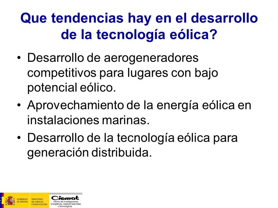 Que tendencias hay en el desarrollo de la tecnología eólica