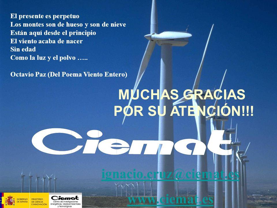 MUCHAS GRACIAS POR SU ATENCIÓN!!! ignacio.cruz@ciemat.es www.ciemat.es