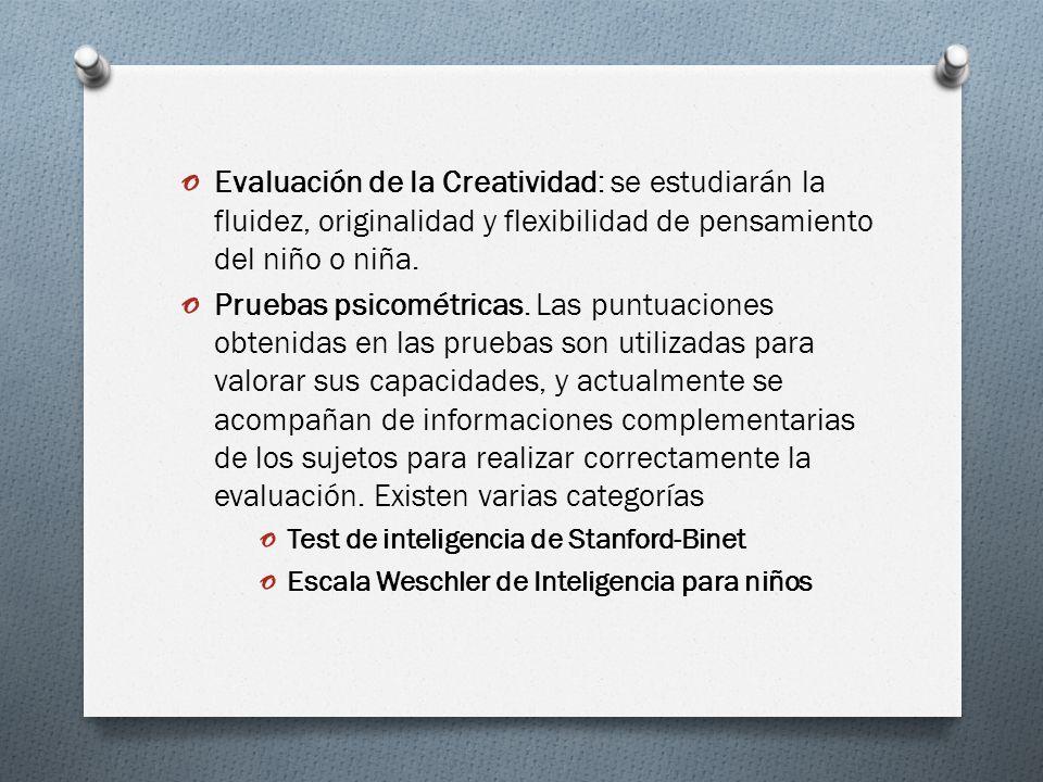 Evaluación de la Creatividad: se estudiarán la fluidez, originalidad y flexibilidad de pensamiento del niño o niña.