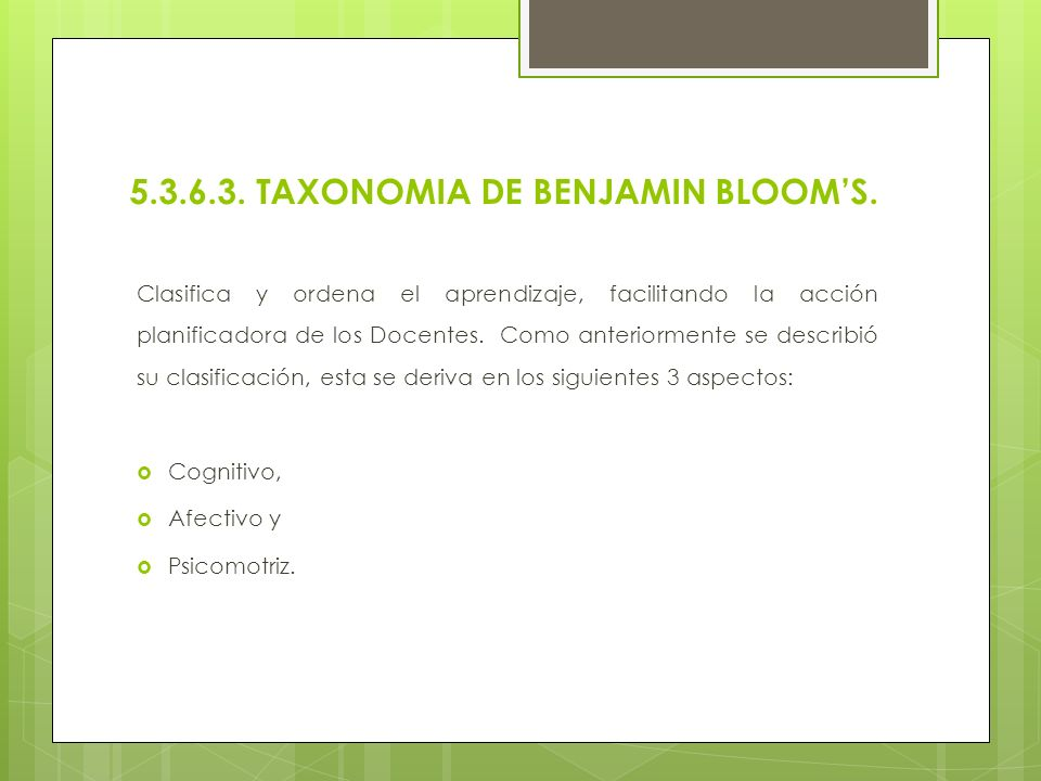 5.3.6.3. TAXONOMIA DE BENJAMIN BLOOM'S.