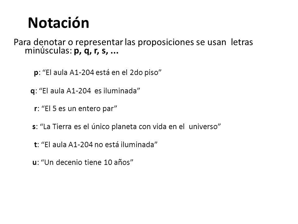 Notación Para denotar o representar las proposiciones se usan letras minúsculas: p, q, r, s, ... p: El aula A1-204 está en el 2do piso