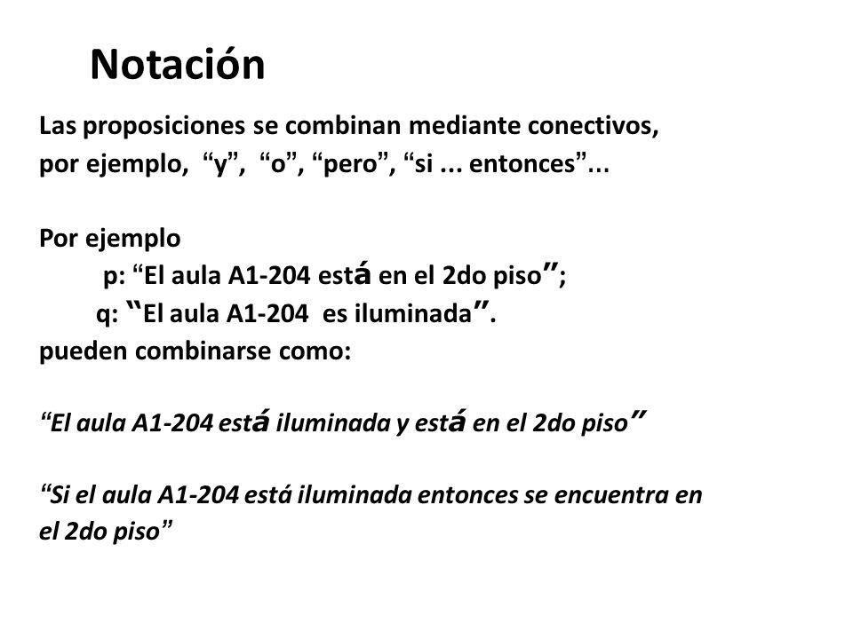 Notación Las proposiciones se combinan mediante conectivos,