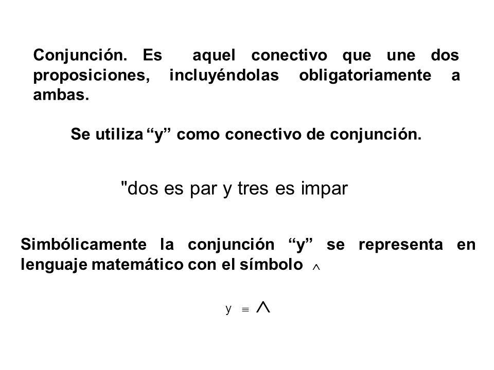 Se utiliza y como conectivo de conjunción.