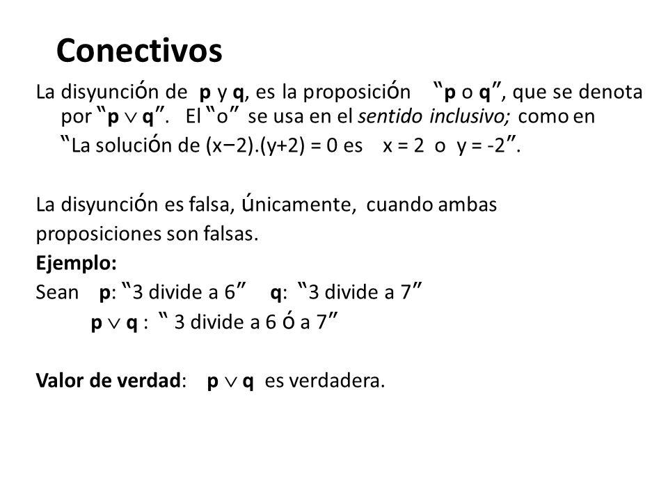 Conectivos La disyunción de p y q, es la proposición p o q , que se denota por p  q . El o se usa en el sentido inclusivo; como en.