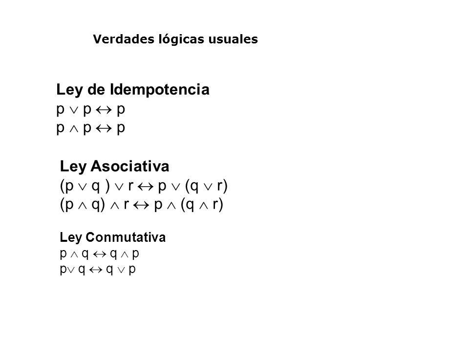 Ley de Idempotencia p  p  p p  p  p Ley Asociativa