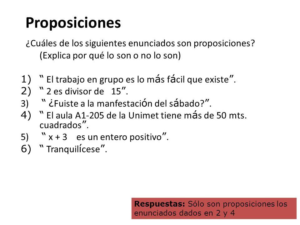Proposiciones ¿Cuáles de los siguientes enunciados son proposiciones