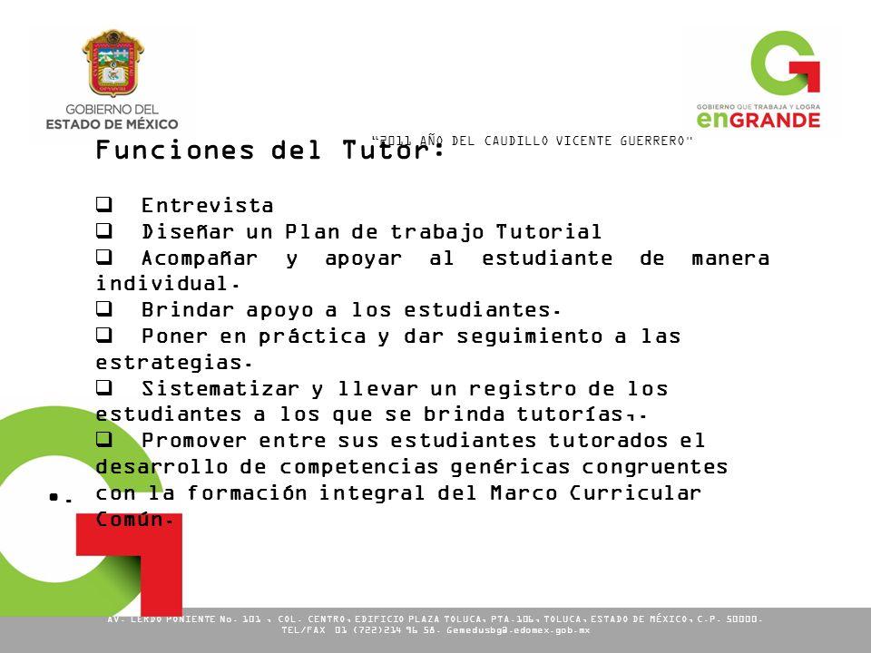 Funciones del Tutor: . Entrevista Diseñar un Plan de trabajo Tutorial
