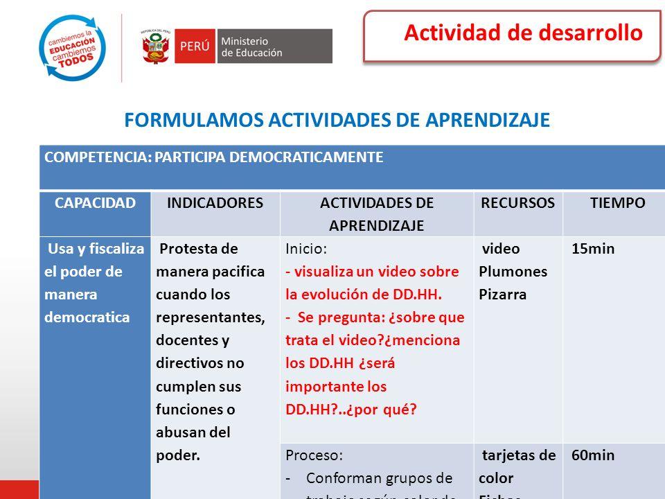 FORMULAMOS ACTIVIDADES DE APRENDIZAJE ACTIVIDADES DE APRENDIZAJE