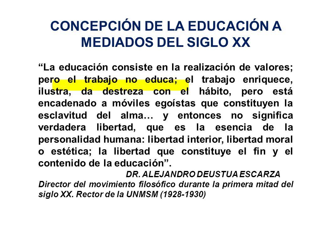 CONCEPCIÓN DE LA EDUCACIÓN A MEDIADOS DEL SIGLO XX