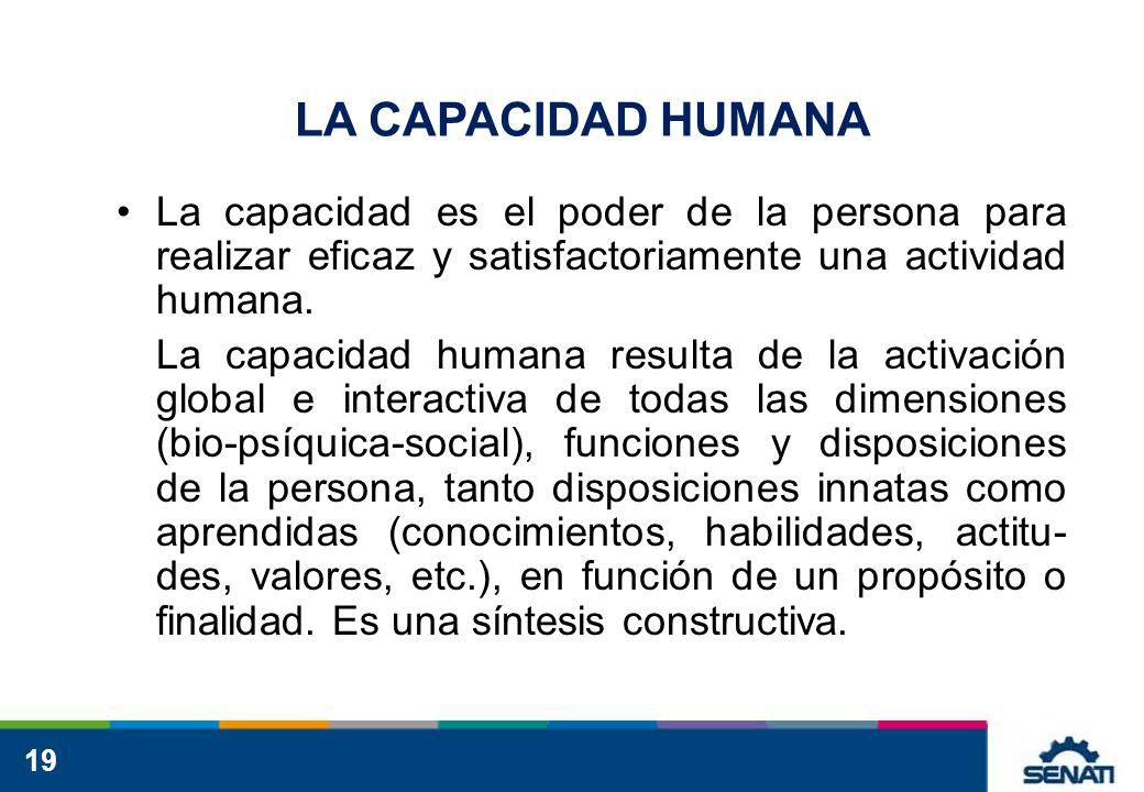 LA CAPACIDAD HUMANA La capacidad es el poder de la persona para realizar eficaz y satisfactoriamente una actividad humana.