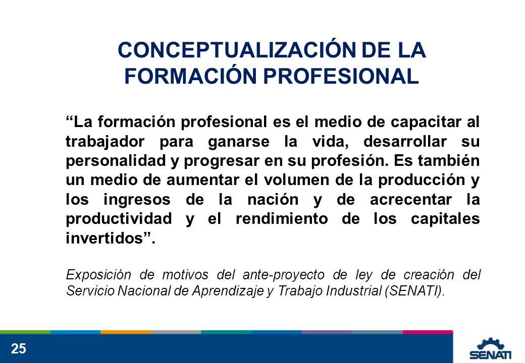 CONCEPTUALIZACIÓN DE LA FORMACIÓN PROFESIONAL