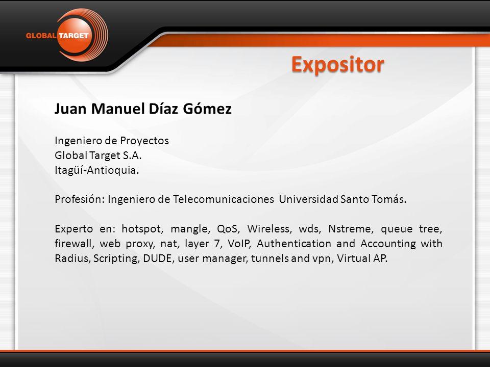 Expositor Juan Manuel Díaz Gómez Ingeniero de Proyectos