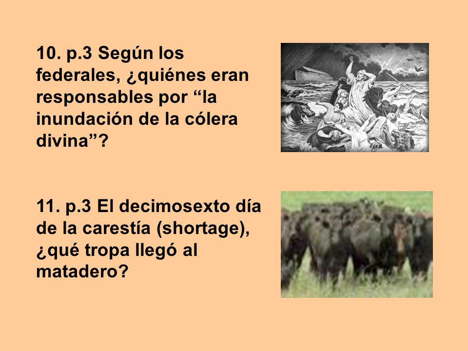 10. p.3 Según los federales, ¿quiénes eran responsables por la inundación de la cólera divina