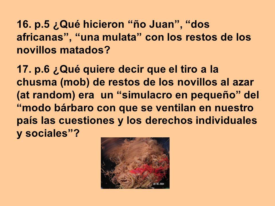 16. p.5 ¿Qué hicieron ño Juan , dos africanas , una mulata con los restos de los novillos matados