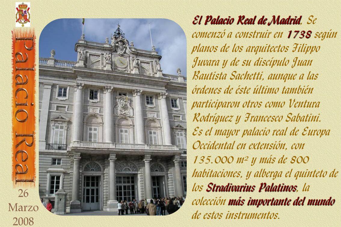 El Palacio Real de Madrid, Se comenzó a construir en 1738 según planos de los arquitectos Filippo Juvara y de su discípulo Juan Bautista Sachetti, aunque a las órdenes de éste último también participaron otros como Ventura Rodríguez y Francesco Sabatini.